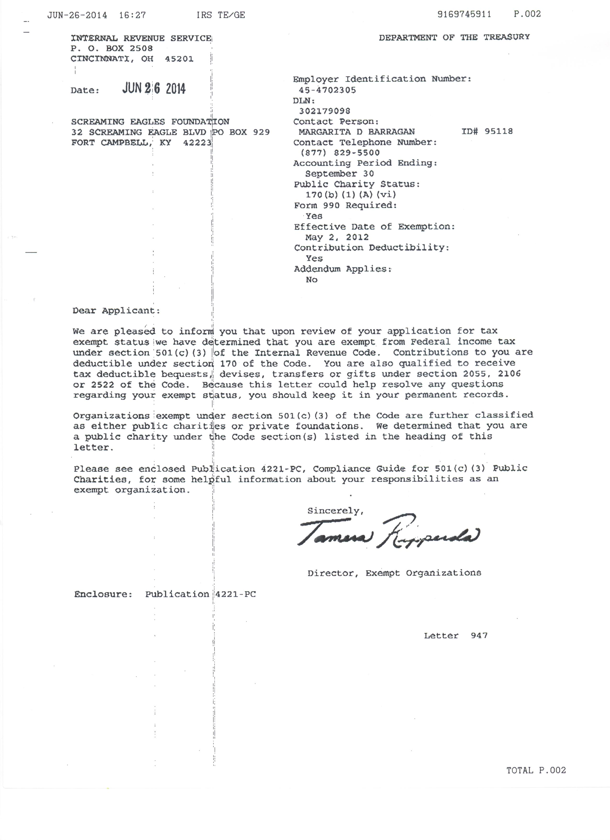foundation approval letter screaming eagle foundation